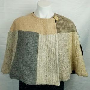 Baabaazuzu Patchwork Sweater Cape Vintage Wool M/L